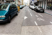 Cyclists and one-way street — Stok fotoğraf
