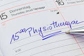 Entry in the calendar: physiotherapy — Stock Photo