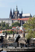Prague, charles bridge and prague castle hradcany — Stock Photo