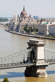Hungary, budapest, parliament, chain bridge — Stock Photo