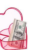 сша доллар законопроекты в сердце — Стоковое фото