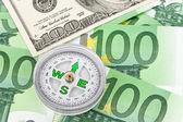Euro and dollar banknotes. — Fotografia Stock