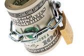 U.s. dollar bills are locked with a lock — Stock Photo