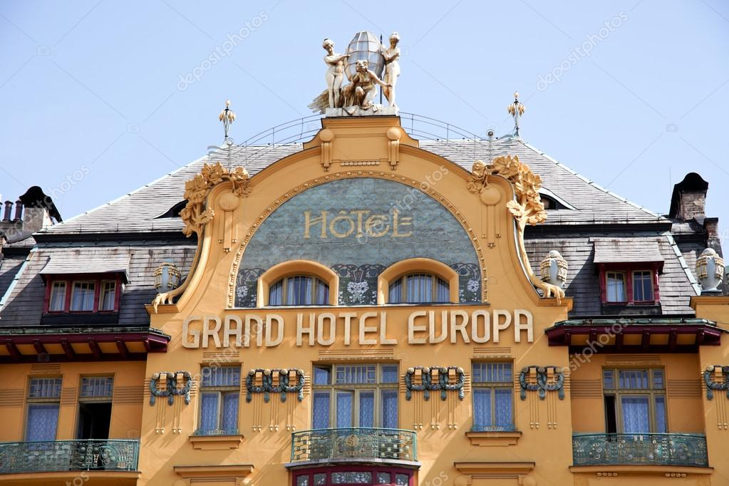 Prague wenceslas square hotel europa stock photo for Europe hotel prague