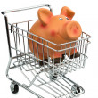 Royalty-Free Stock Photo: Piggy bank in cart