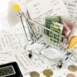 Cart, receipts and money — Stock Photo #22735417