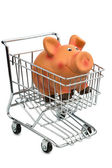 Piggy bank in cart — Stock Photo