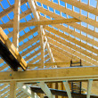 Wooden roof construction - Stock Photo