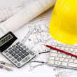 House plan of a construction worker with helmet — Stock Photo #23953905
