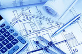 House plan with calculator — Stock Photo