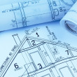 Stock Photo: Blueprint for a house