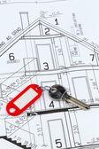 Piano casa con chiave — Foto Stock
