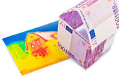House from € banknotes and infrared image — Stock Photo