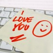 Note on computer keyboard: i love you - Foto de Stock