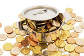 Saucepan and euro coins — Photo