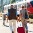 Mature senior couple at the train station — Stock Photo