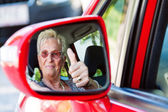 Senior as a car driver in the car. — Stock Photo