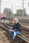 Woman suicide with thoughts on track — Stok fotoğraf