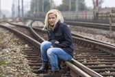 悲伤、 焦虑、 忧郁的女人 — 图库照片