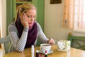 Woman has a cold. flu season — Stock Photo