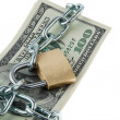 Dollars bills with lock and chain. — Stock Photo