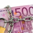Euro banknotes with chain and padlock — Zdjęcie stockowe
