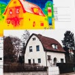 Save energy. house with thermal imaging camera — Stock Photo #26173001