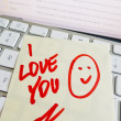 Note on computer keyboard: i love you — Stock Photo