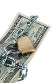 Dollars bills with lock and chain. — Stockfoto