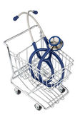 Stethoscope and shopping cart — Stock Photo
