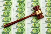 Judges gavel and euro banknotes — Stock Photo
