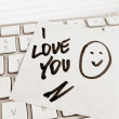 Note on computer keyboard: i love you — Stock Photo #27156861