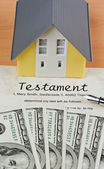 Dollar bills and english testament — Stock Photo