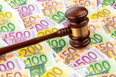 Judges gavel and euro banknotes — Stock Photo