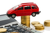 Cost of the car. with calculator — Stock Photo