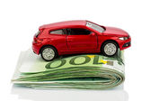 Car on euro notes — Stock Photo
