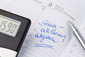 Entry in the calendar: tax return — Stock Photo