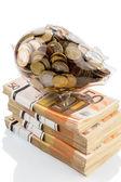 Piggy bank on euro banknotes — Stock Photo