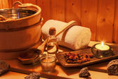 Wellness and spa in the sauna — Stock Photo