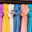 Selection of scarves for sale — Stock Photo