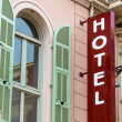 Stock Photo: Hotel sign, facade