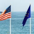 The eu and the usa flag — Stock Photo