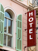 Hotel sign, facade — Stock Photo