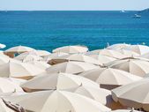 Many umbrellas on the beach — Stock Photo