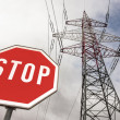 Power line and stop sign — Stock Photo #28014123