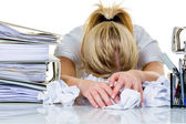 Woman in office with burnout — Stockfoto