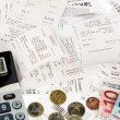 Calculator, receipts, bills — Stock Photo