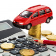Cost of the car. with calculator — Stock Photo #29838657