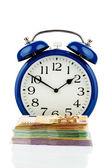 Reloj y billetes — Foto de Stock
