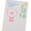 Incidence and idea with bulb. symbol on a drawing. — Stockfoto
